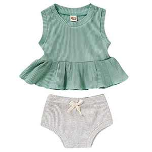 Baby Girls Summer Clothes Ruffle T Shirt Tops + Drawstring Shorts Outfit Set Cotton Clothing (C-Green+Gray, 6-12 Months)