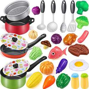 Geyiie Cooking Pretend Play Toy Kitchen Cookware Playset Including Pots and Pans, Play Food, Cooking Utensils, Kids Kitchen Set for Girls Boys Ages 3 4 5 6 7 Years Old