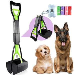 Dog Pooper Scooper, Long Handle Portable Pooper Scooper for Large Dogs, Pooper Scooper with High Strength Materials & Durable Spring, Easy to Use Rake for Pets, Great for Lawns, Grass, Dirt, Gravel