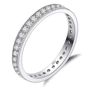 QJLE 925 Sterling Silver 14K White Gold Plated Cubic Zirconia Eternity Rings,3.0mm Wedding Band Stackable Engagement Rings for women (Silver, 7)