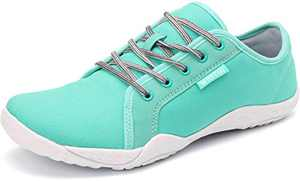 WHITIN Women's Minimalist Canvas Barefoot Sneakers, Low Zero Drop Sole with Arch Support, Wide Width Toe Box, Size 7 Casual Lace Up Flats Tennis Driving Shoes Lady Light Blue 37