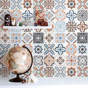 """Bohemian Pattern Peel and Stick Wallpaper for Kitchen Contact Paper Faux Tiles Decorative Removable Wall Paper Self Adhesive Countertop Wallpaper Waterproof Kitchen Wallpaper Vinyl Cabinet 16""""x 118.1"""""""