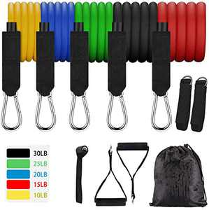 Dezem Resistance Band Set(11pcs),Exercise Bands with Door Anchor/Carrying Case, Legs Ankle Straps for Home Exercise Stretch Fitness(11pcs/Set)
