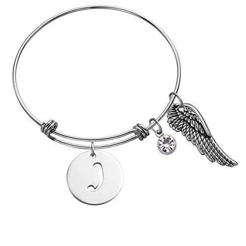 Initial Charm Bracelet for Girls Women Alphabet 26 Letters Bracelets Stainless Steel Bangle Charm Bracelet Gifts for Women Girls