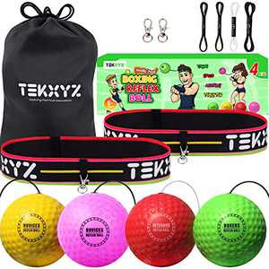 TEKXYZ Boxing Reflex Ball Family Pack, 4 Different Boxing Ball with Headband, Softer Than Tennis Ball, Perfect for Reaction, Agility, Punching Speed, Fight Skill and Hand Eye Coordination Training