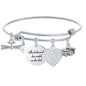 M MOOHAM Graduation Gifts for Her 2020, High School College Graduation Gifts Inspirational Graduation Bracelet, She Believed She Could So She Did