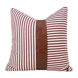 cygnus Farmhouse Decorative Throw Pillow Covers Ticking Stripe Stitching Faux Leather Modern Boho Cushion Cover for Couch Sofa Bed 18x18 inch, Red