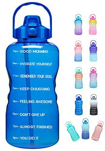 Venture Pal Large Half Gallon/64oz Motivational Water Bottle with Time Marker & Straw,Leakproof Tritan BPA Free Water Jug,Ensure You Drink Enough Water Daily for Fitness,Gym and Outdoor Sports-Blue