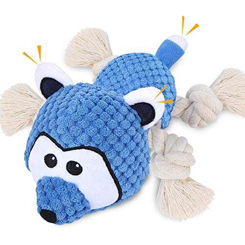 LUOAIYI Plush Dog Toys, Interactive Squeaky Dog Toys with Crinkle Paper Sturdy Raccoon Dog Chew Toys, Stuffed Dog Toy for Puppy Small Medium Large Breed Aggressive chewers - Reducing Boredom (Blue)