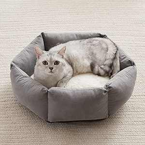 Cat Beds for Indoor Cats Round Soft Cushion Machine Washable Anti-Slip Bottom 20 Inch Grey