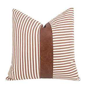 cygnus Farmhouse Fall Decorative Throw Pillow Covers Ticking Striped Stitching Faux Leather Modern Boho Cushion Cover for Fall Couch Sofa Bed 18x18 inch ,Brown