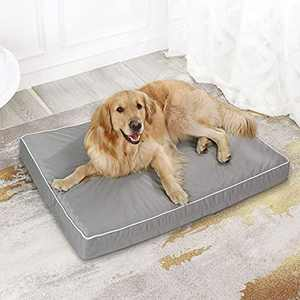 Western Home Dog Beds for Large Dogs, Orthopedic Dog Bed with Egg Foam, Pet Crate Bed with Cooling Fabric, Washable Removable Cover, Grey, 42 inches