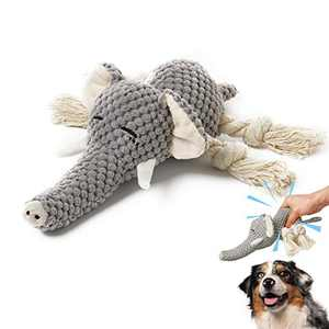 Plush Dog Toys, Interactive Stuffed Dog Toys with Crinkle Paper, Durable Squeaky Chew Toys for Small and Medium Dogs, Cute Elephant Dog Toys for Puppy Large Breed