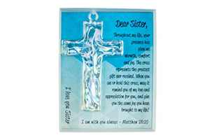 Keepsake Cross in Gift Box with Poem and Bible Verse, for Sister, Handmade Religious Gift of Faith