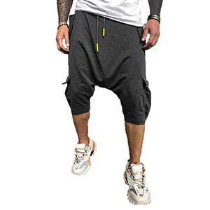 ZNU Men's 3/4 Harem Jogger Hippie Drop Crotch Baggy Cargo Capri Pants Dark Gray