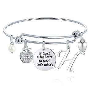 M MOOHAM Teacher Gifts for Women, Teacher Bracelet Teacher Appreciation Gifts End of Year Teacher Gifts for Teachers on Teacher's Day, It Takes a Big Heart to Teach Little Minds