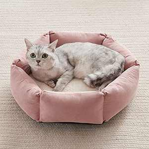 Western Home Cat Beds for Indoor Cats Dogs, Kitty Puppy Kitten Bed Round Soft Plush Flannel Pet Cushions Beds Washable, 20 Inches