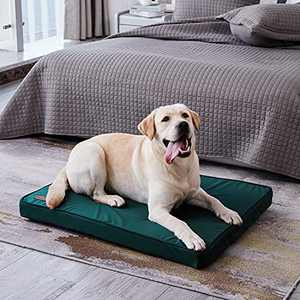 Western Home Dog Beds for Large Dogs, Orthopedic Dog Bed with Egg Foam, Pet Crate Bed with Cooling Fabric, Washable Removable Cover, Green, 42 inches