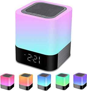 Night Light Bluetooth Speaker, Alarm Clock Wireless Bluetooth Speaker MP3 Player, Touch-Control Dimmable Multi-Color Changing Bedside Lamp, USB Flash Drive/MicroSD/AUX Support