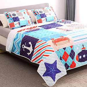 WishColorful Nautical Quilt Set Twin Size,3 Piece Bedspreads Coverlet Ocean Creature,Lightweight Bedroom Bedspread for All Season,1 Quilt and 2 Pillow Shams