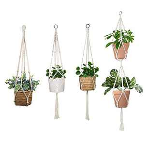 ALLADINBOX 4 PCS Macrame Plant Hanger Indoor Outdoor Hanging Planter Basket Flower Pot Holder Cotton Rope 4 Legs Suitable for Pots Up to 10 Inches in Diameter(Plant & Pot NOT Included)