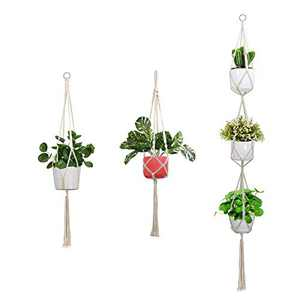 ALLADINBOX 3 Pack Macrame Plant Hanger Inch Indoor Outdoor Hanging Planter Basket Flower Pot Holder Cotton Rope 4 Legs Suitable for Pots Up to 8 Inches in Diameter(Plant & Pot NOT Included)