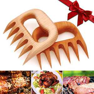 Meykers Meat Claws Shedder - Bear Paws Claws for Shredding Pulling Handing Lifting Serving Pulled Pork Turkey Chicken Brisket Wooden Meat Puller Tool Gift for BBQ Lover