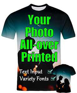 Custom T Shirt for Men, Design Your Own Custom Shirts Personalized All Over Print Tee Custom Gifts (Multicoloured, Medium)