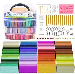 MOISO Polymer Clay, 60 Colors 1.1 oz/Block Soft Oven Bake Modeling Clay Kit, 19 Tools and 10 Kinds of Accessories, Non-Stick, Non-Toxic, Ideal DIY Gift for Kids [ Total 4.1LB ]