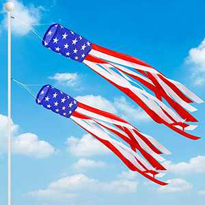 """AMENON 2Pack 70"""" Large American Flag Windsock 4th July Decorations,Stars & Stripes US Patriotic Decoration Wind Sock Outdoor Hanging Garden Yard Fourth July Red White and Blue Decor"""