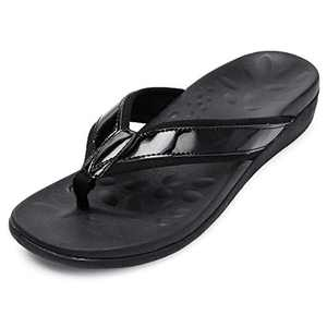 UTENAG Women's Orthotic Flip Flops Arch Support Summer Beach Sandals Thong Style Casual Flat