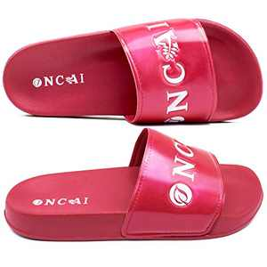 ONCAI Women's-Slide-Sandals-Shower-Slippers-Flat-Sliders Fashionable Glitter Anti-Skidding Girls' Shower Slippers Casual Outdoor and Indoor Rose Red Flat Summer Sandals Size 9