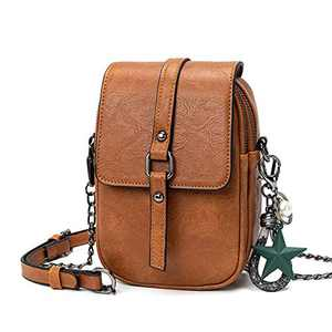 Small Crossbody Purses for Women Leather Designer Phone Bag Adjustable Long Strap with Headphone Port(Tan)