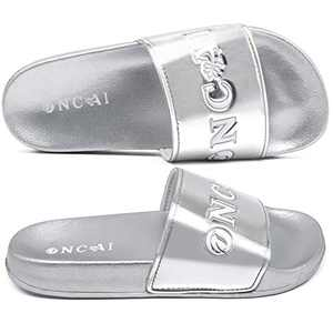 ONCAI Women's-Slide-Sandals-Shower-Slippers-Flat-Sliders Fashion Glitter Bling Slip-on Girls' Outdoor Slippers Casual Indoor Women Comfort Home Sliver Flat Sandals Size 9