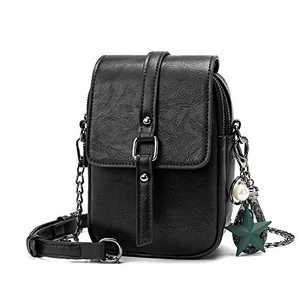 Small Crossbody Purses for Women Leather Designer Phone Bag Adjustable Long Strap with Headphone Port(Black)