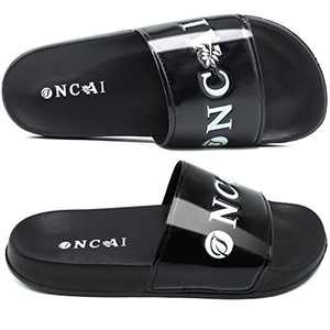 ONCAI Women's-Slide-Sandals-Shower-Slippers-Flat-Sliders Fashionable Glitter Slip-on Girls' Shower Slippers Casual Outdoor and Indoor Black Flat Sandals Size 8.5