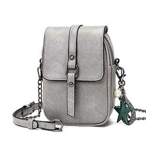 Small Crossbody Purses for Women Leather Designer Phone Bag Adjustable Long Strap with Headphone Port(Grey)