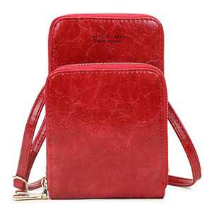 Small Crossbody Bag for Women Phone Purse Wallet Waxed Leather Shoulder Bag Red