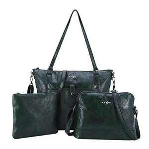 Women Shoulder Handbag Purse Top-Handle Hobo Roomy Casua Ladies' Shoulder Bag Fashion PU Tote Satchel Bag for Wome (KL2226 DEEP GREEN)