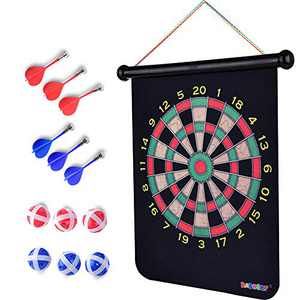 Rabosky Magnetic Dart Board Game for Boys Age 6 7 8 9 10 11 12 Year Old, Gift for Kids Birthday or Christmas, 6 Magnetic Darts and 6 Hook& Loop Dart Balls, Safety Indoor Game Toy for Kids