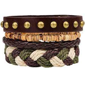 Mens Bracelet Set Beads Leather Stranded Multilayer Braided Rope Adjustable Green