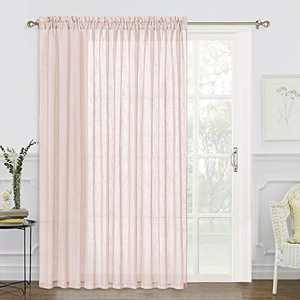 RYB HOME Linen Sheer Curtains - Semi Sheer Privacy Curtains for Living Room Window Patio Sliding Glass Door Light Glare Filtering Half Translucent, Blush Pink, 100 x 84 inches Long