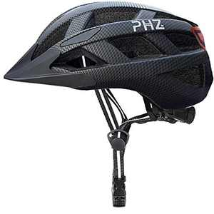 PHZ. Adult Bike Helmet with Rechargeable USB Light, Bicycle Helmet for Men Women Road Cycling & Mountain Biking with Detachable Visor (Carbon Black)