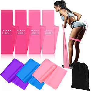 Gejoy 7 Pieces Resistance Bands Resistance Loop Exercise Bands Latex Workout Bands for Home Fitness, Stretching, Strength Training and Pilates