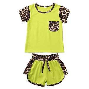 Newborn Infant Baby Girl Clothes Pocket Flower Ruffle Short Sleeve T-Shirt Top+Floral Pants +Headband Outfits Set (A-Green, 3-4T)