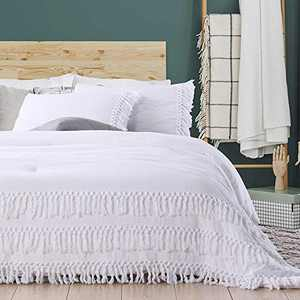 SexyTown White Ruffle Tassel Queen Comforter Set,Lightweight Ultra Soft Boho Chic Fringe Bedding Down Comforter Fluffy ,Washed Microfiber Inner Fill Bedding 3 Pieces (1 Boho Comforter+2 Pillowcases)