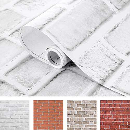 Coavas White Brick Wallpaper 17.7x314.9 Inches Self-Adhesive Peel and Stick Paper Christmas Decorative Faux Brick Printed Stick Paper Easy to Stick White