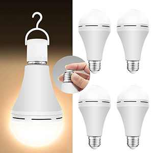 4 Pack Emergency-Rechargeable-Light-Bulb, 3000K Soft White Light Bulbs, Stay Lights Up When Power Failure, 1200mAh 15W 80W Equivalent LED Light Bulbs for Home, Camping, Tent (Soft White, 4 PK)