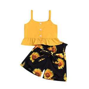 Gifunes Big Girl Clothes Strap Ruffle Top + Black Sunflower Shorts + Sunflower Headband 3PCS Baby Girl Summer Outfits Set 3-4T