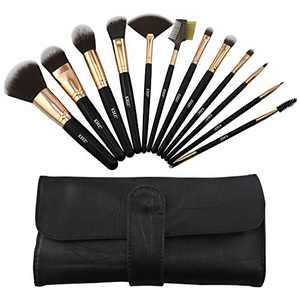 Makeup Brush Set 12 Pcs Foundation Powder Concealer Blush Lip Brushes Eye Shadow Eyelash Make up Brush Kit with Travel Makeup Bag - Premium Synthetic Fiber Bristles